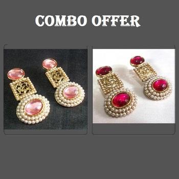 Buy 2 Pink and Dark Pink Pearl Earrings