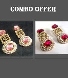 Buy Buy 2 Pink and Dark Pink Pearl Earrings jewellery-combo online