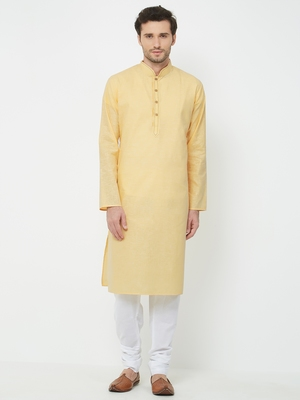Yellow plain cotton kurta pajama
