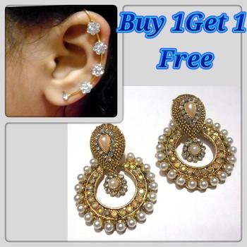 Buy 1 get 1 free Golden pearl antic polki earrings