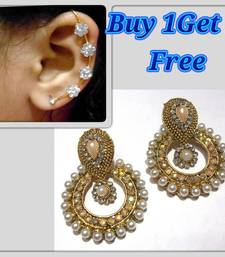 Buy Buy 1 get 1 free Golden pearl antic polki earrings jewellery-combo online