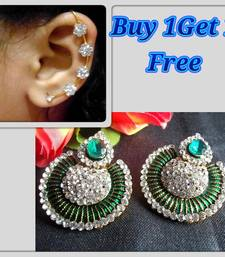 Buy Buy 1 Get 1 Free Green Meenakari Stone Earring with Earr Cuff jewellery-combo online