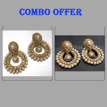 Buy 2 Pearl Polki Earrings