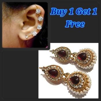 Marron Kundan Pearl Jhumka and Free Earr Cuff