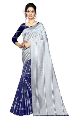 Grey And Blue Polyester Cotton Printed Daily Wear Saree