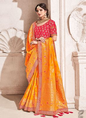Mustard woven silk saree with blouse