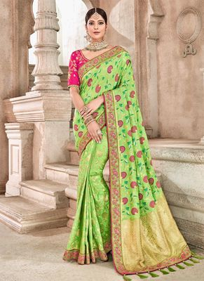 Parrot green woven silk saree with blouse