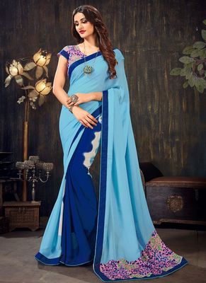Sky blue printed chiffon saree with blouse