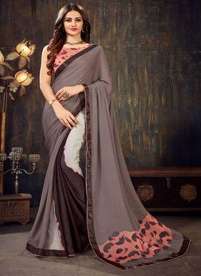 Slate grey printed chiffon saree with blouse