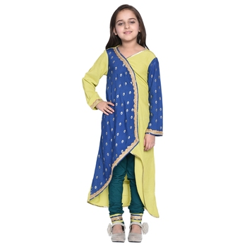 Yellow printed cotton kids kurti with pant