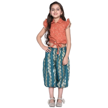 Green printed cotton kids shirt and harem pants