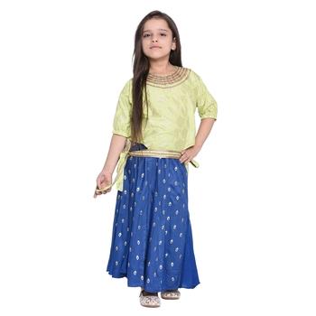 Blue Printed Cotton Kids Dress