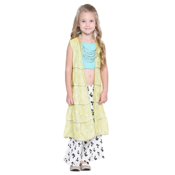 Yellow Printed Cotton Kids Top With Palazzo And Shrug