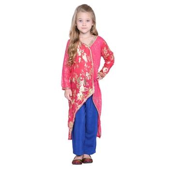 Pink printed cotton kids ethnic suit