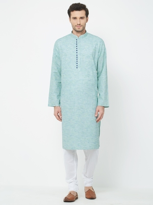Light blue  plain cotton kurta pajama