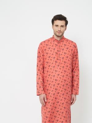 Orange plain cotton kurta pajama