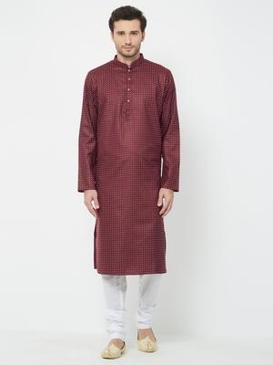 Maroon plain cotton kurta pajama