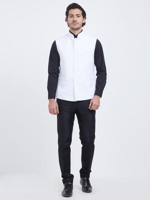 White plain viscose nehru jacket