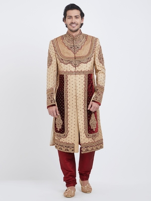 Maroon Dark & White Embroidered Art Silk Sherwani