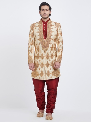 Light Gold embroidered silk sherwani