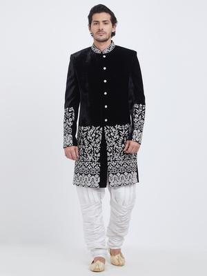Black embroidered velvet sherwani