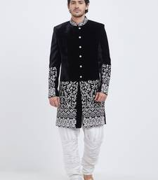 Black embroidered velvet sherwani