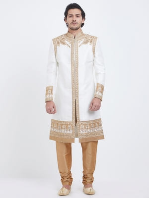 White embroidered art silk sherwani