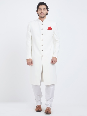 White plain viscose sherwani
