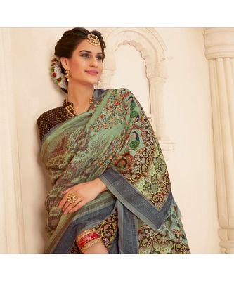 Brown Printed viscose saree with blouse and shawl
