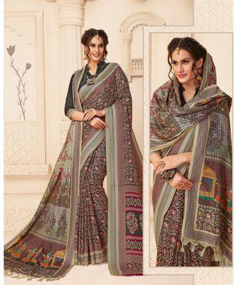 Grey Printed viscose saree with blouse with shawls