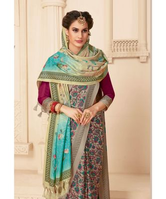 Beige Printed viscose saree with blouse and shawls