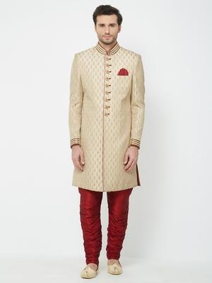 Gold embroidered art silk sherwani