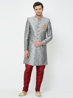 Grey embroidered art silk sherwani