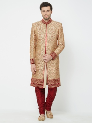 Gold Embroidered Art Silk Sherwani