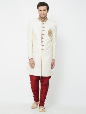 white embroidered art silk sherwani