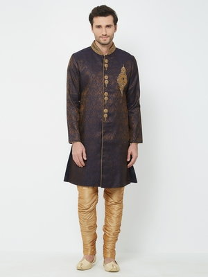 Dark Purple embroidered art silk sherwani