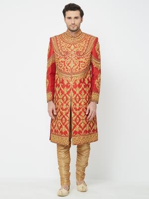 Red Embroidered Art Silk Sherwani