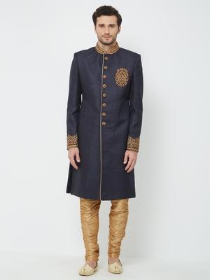 Navy Blue Embroidered Jute Sherwani