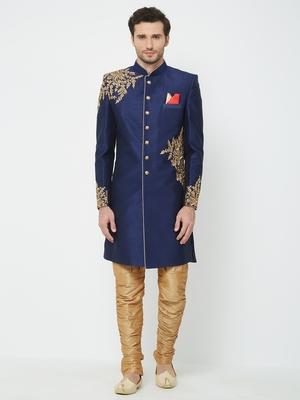 Navy Blue embroidered art silk sherwani
