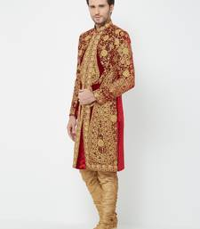 Red embroidered velvet sherwani
