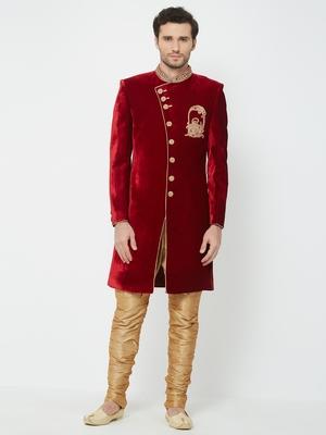 Red Embroidered Velvet Sherwani