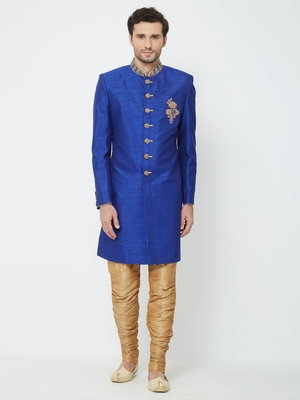 Royal Blue embroidered art silk sherwani
