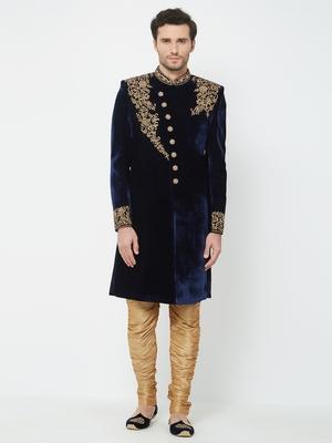 Navy Blue embroidered velvet sherwani