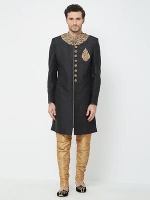 Black embroidered art silk sherwani