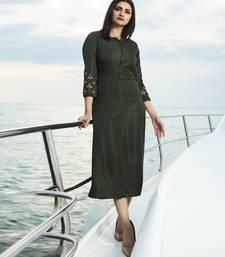 Dark Olive Embroidered Silk Silk Kurtis