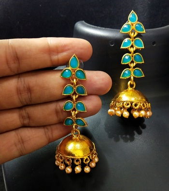 Charming Jewelry Designer Pastel Blue Kundan Leaf Jhumki Earrings Set