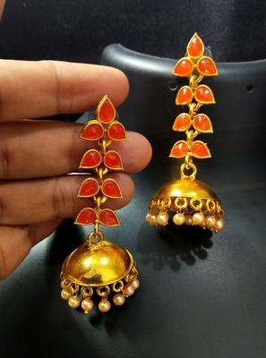 Charming Jewelry Designer Peech Kundan Leaf Jhumki Earrings Set