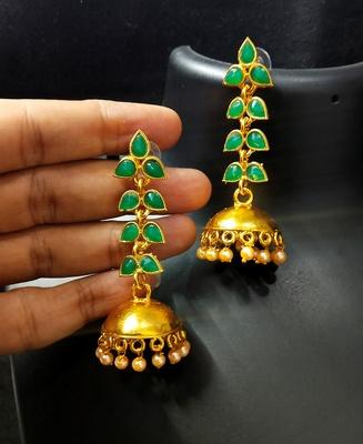 Charming Jewelry Designer Emerald Green Kundan Leaf Jhumki Earrings Set