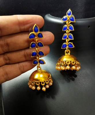 Charming Jewelry Designer Blue Kundan Leaf Jhumki Earrings Set