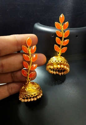Indian Bollywood Designer Peech Kundan Leaf Jhumki Earrings Set
